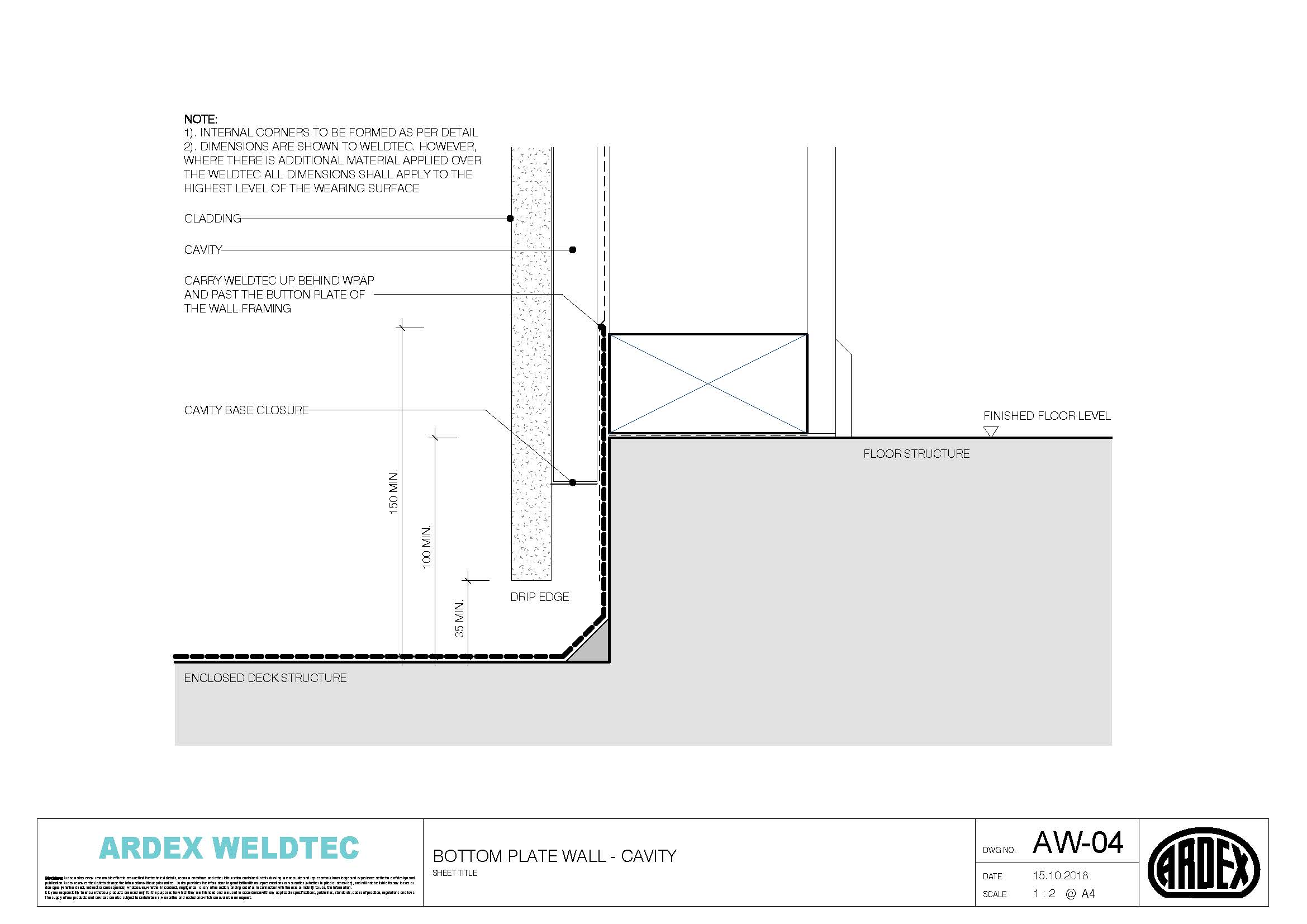 Weldtec bottom plate wall cavity