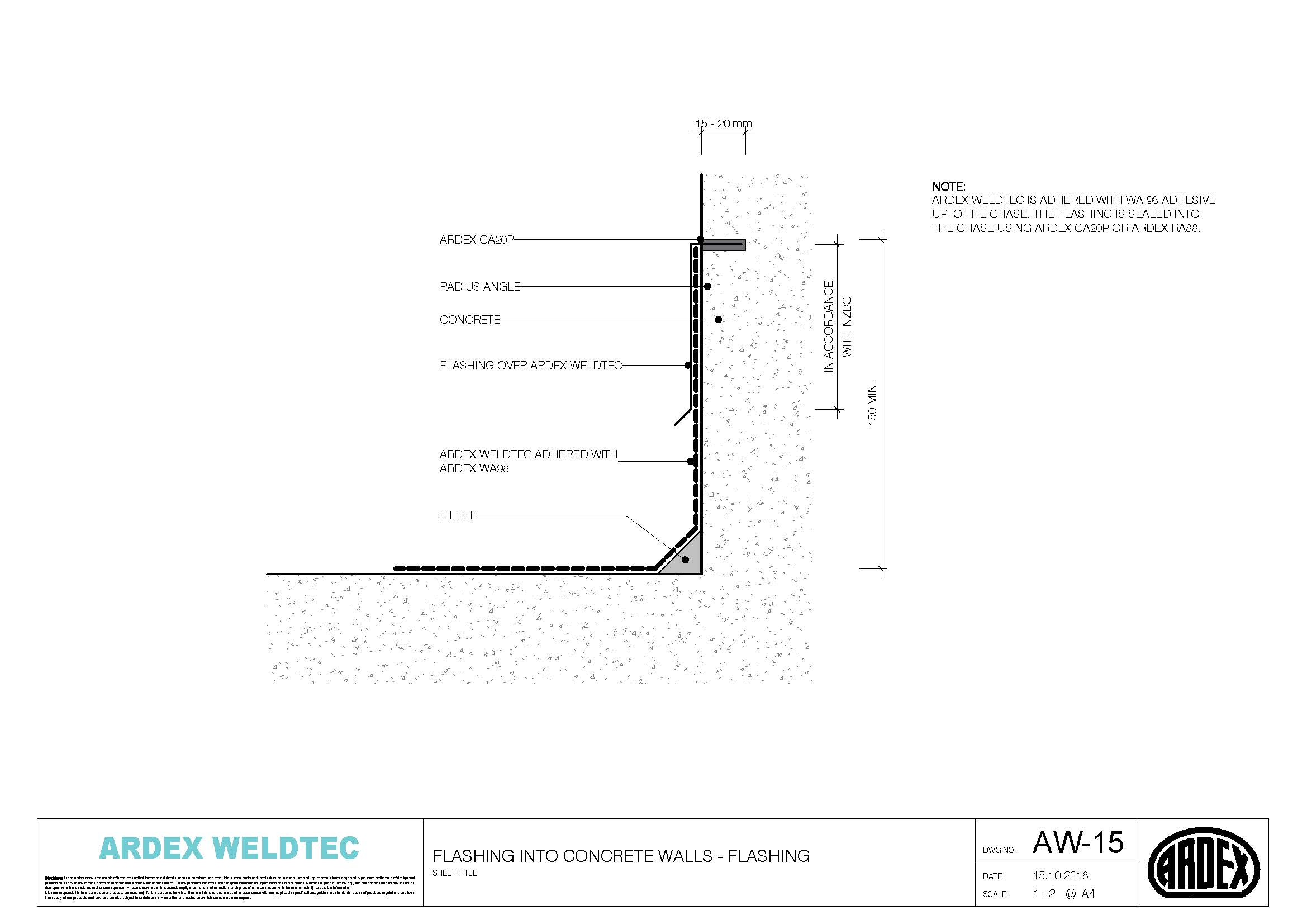 Weldtec flashing into concrete walls