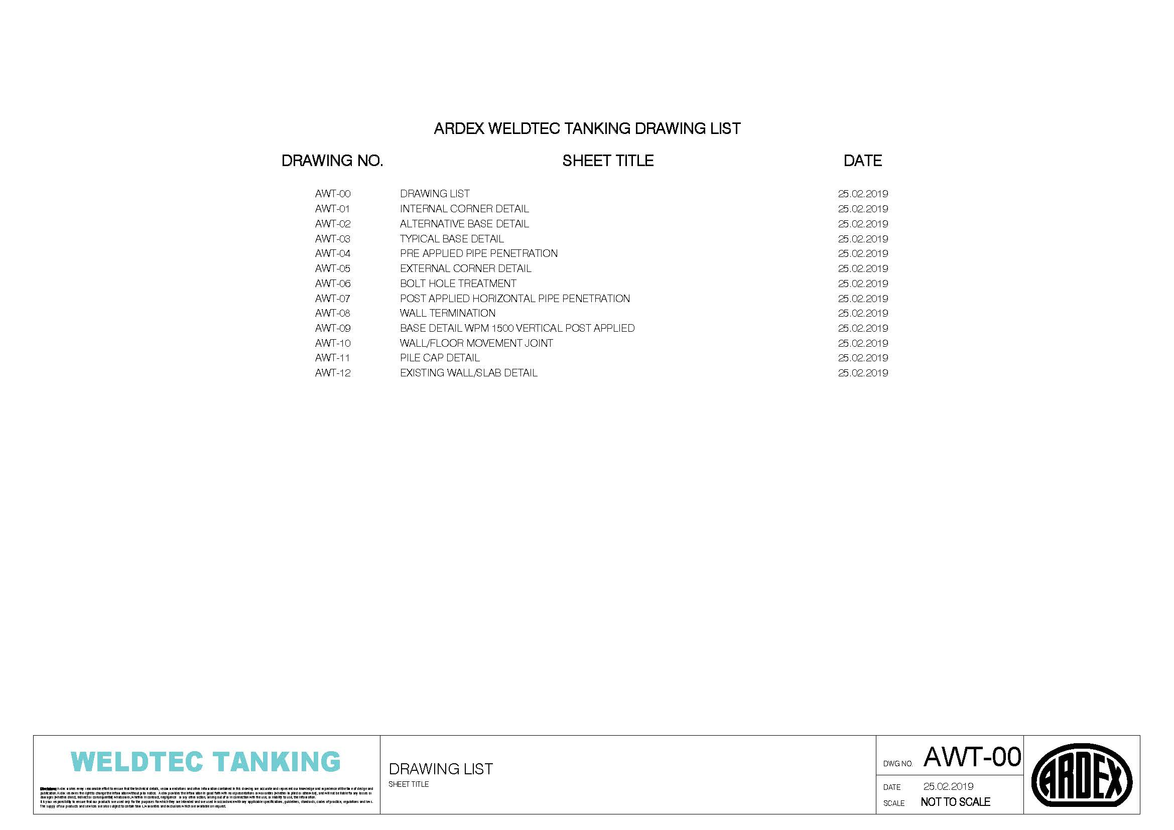 WeldTec Tanking - CAD Drawings - ARDEX New Zealand