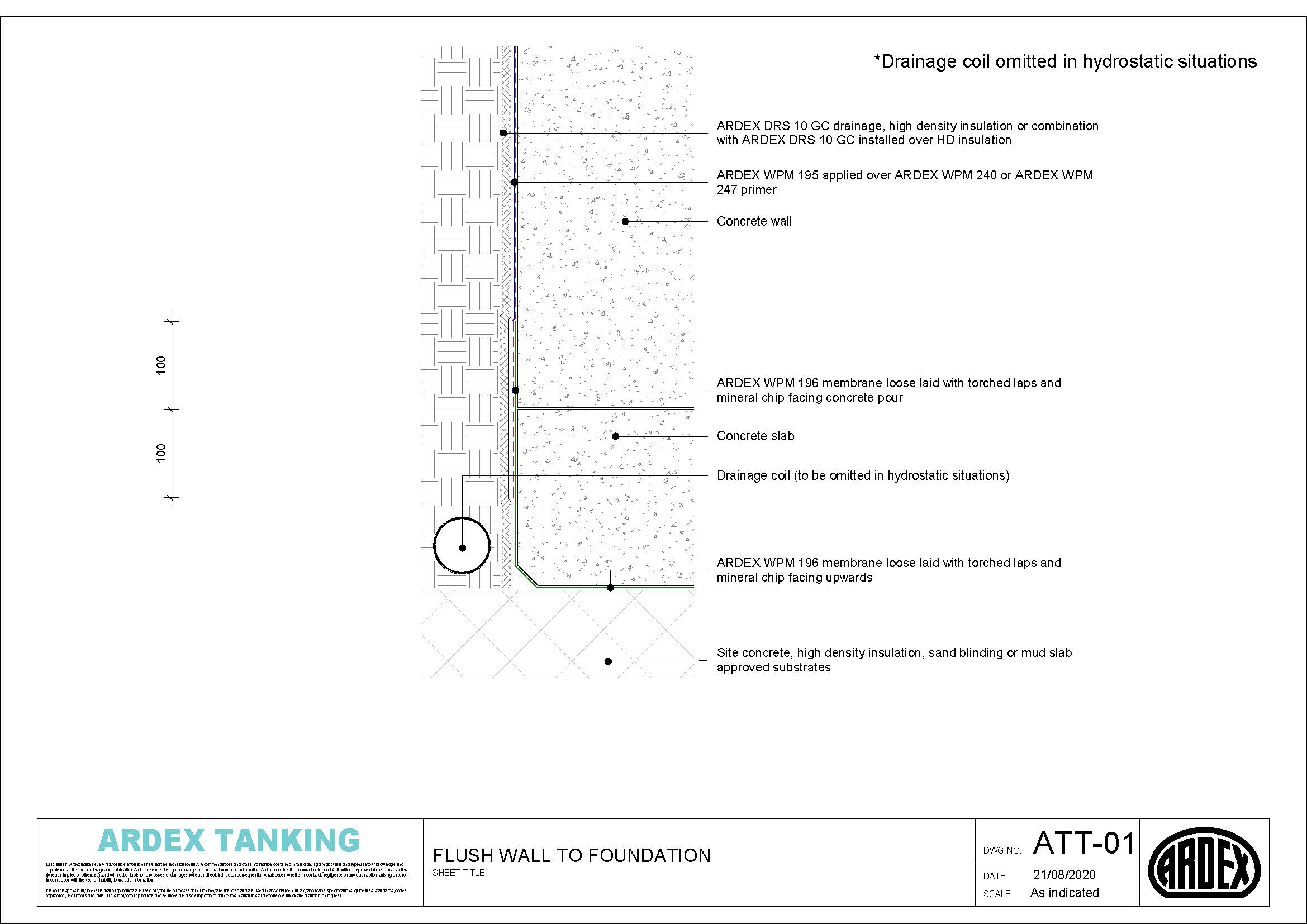 Torch-applied bituminous membrane tanking application detail drawing for flush walls and foundation